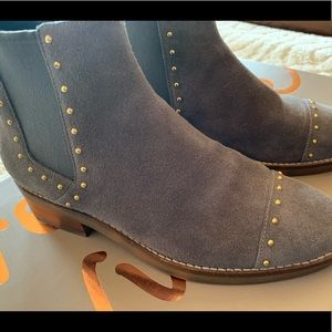 Cole Haan grey and gold suede ankle boots